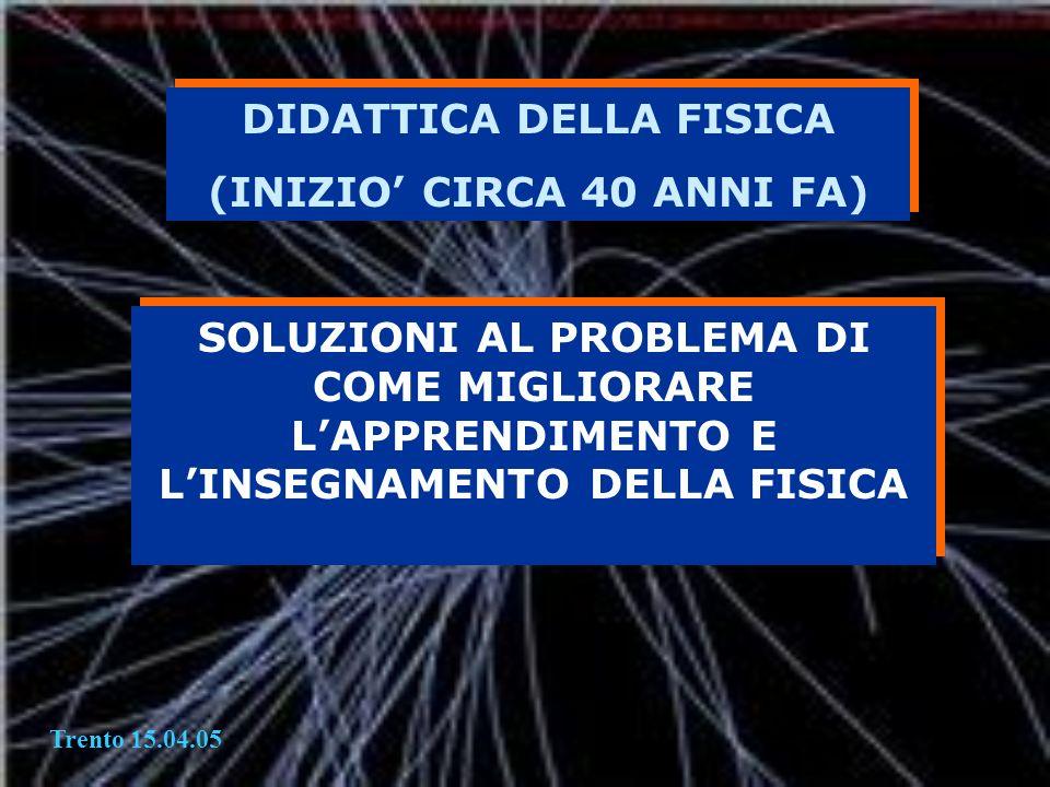 DIDATTICA DELLA FISICA (INIZIO' CIRCA 40 ANNI FA)