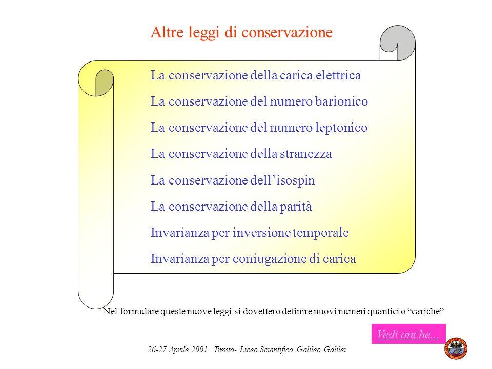 Altre leggi di conservazione