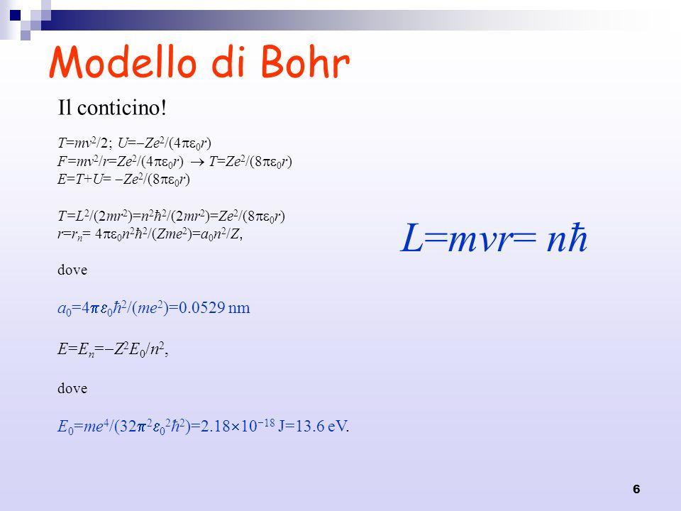 Modello di Bohr L=mvr= nħ Il conticino! a0=40ħ2/(me2)=0.0529 nm
