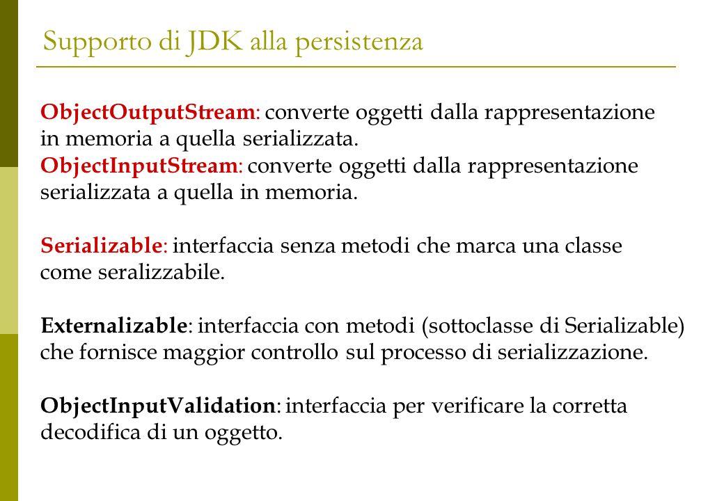 Supporto di JDK alla persistenza