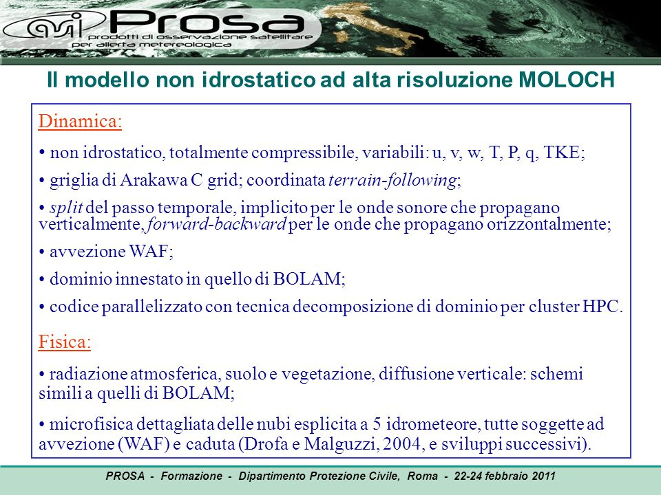 Il modello non idrostatico ad alta risoluzione MOLOCH