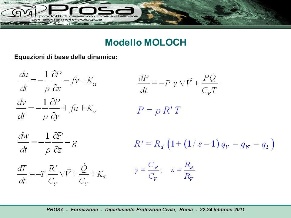 Modello MOLOCH Equazioni di base della dinamica: