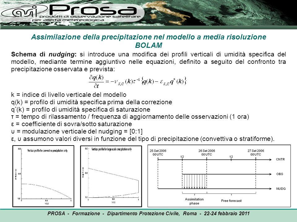 Assimilazione della precipitazione nel modello a media risoluzione BOLAM