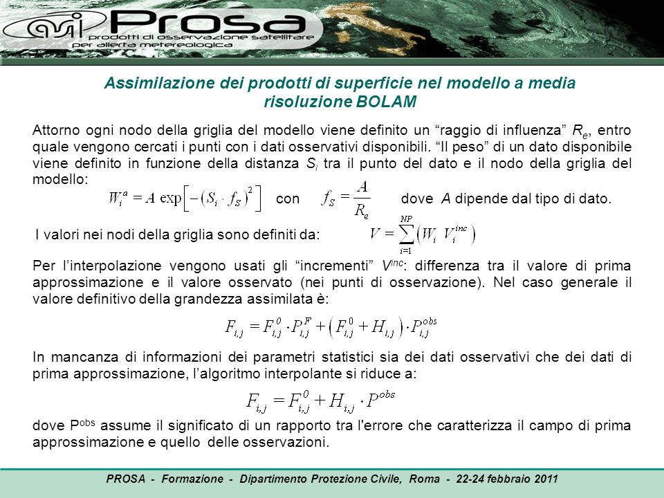 Assimilazione dei prodotti di superficie nel modello a media risoluzione BOLAM