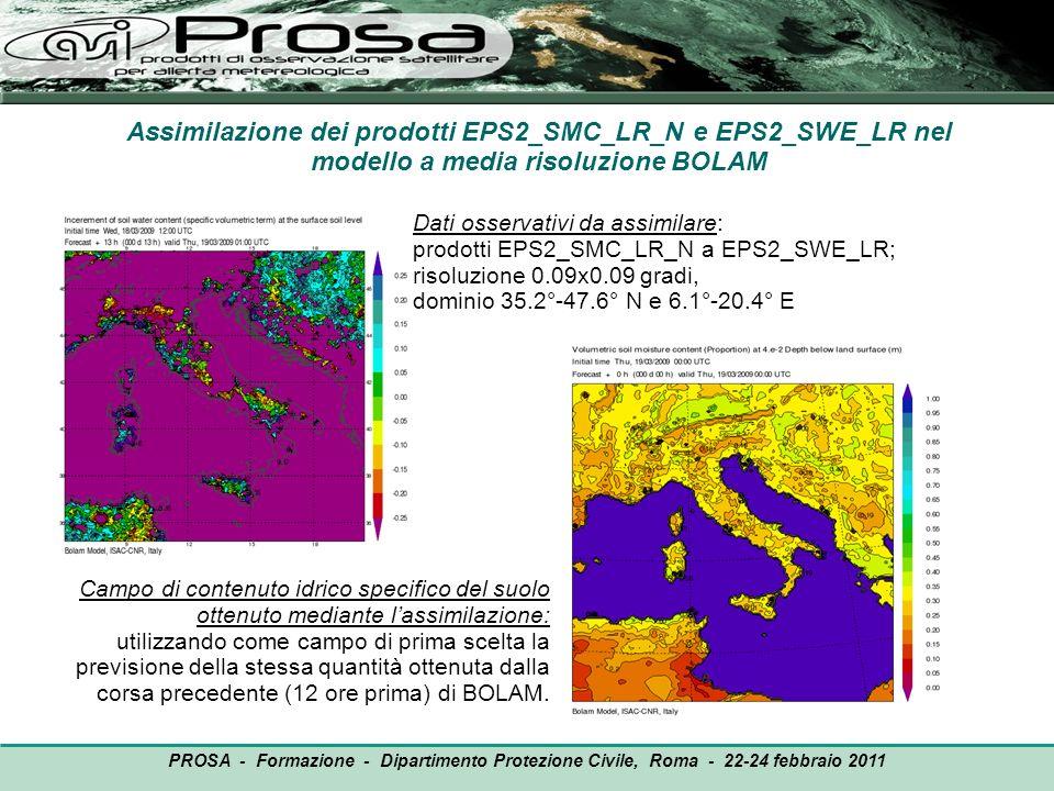 Assimilazione dei prodotti EPS2_SMC_LR_N e EPS2_SWE_LR nel modello a media risoluzione BOLAM