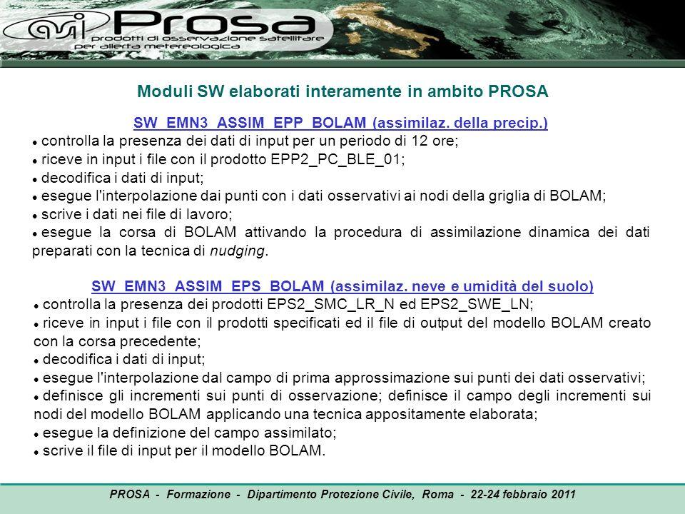Moduli SW elaborati interamente in ambito PROSA