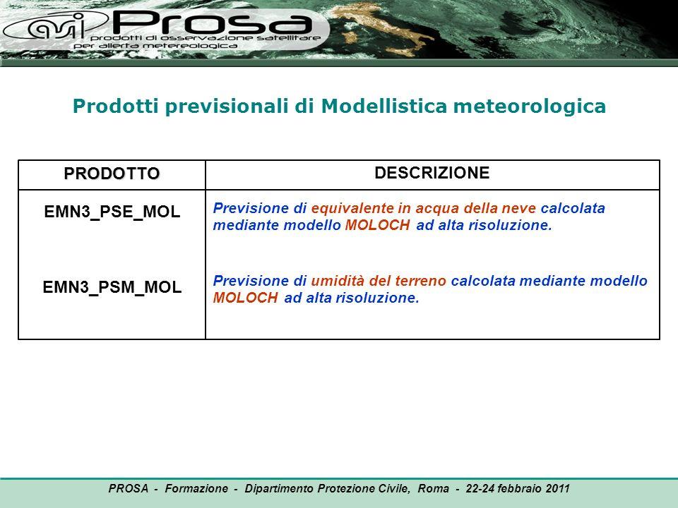 Prodotti previsionali di Modellistica meteorologica