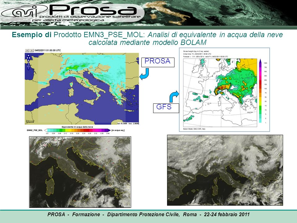 Esempio di Prodotto EMN3_PSE_MOL: Analisi di equivalente in acqua della neve calcolata mediante modello BOLAM