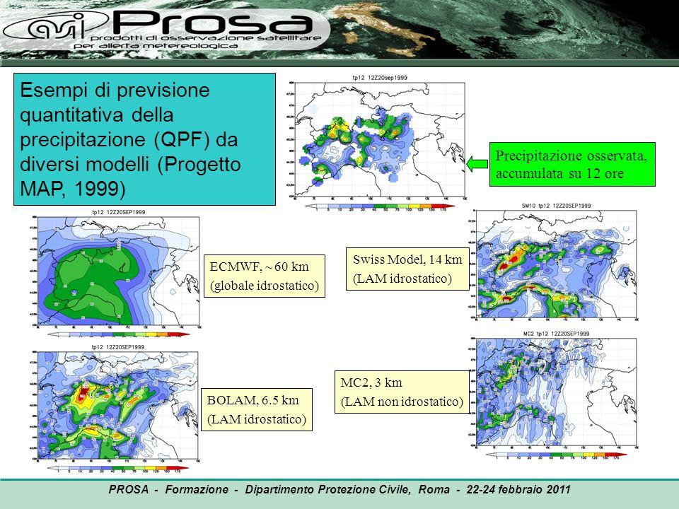 Esempi di previsione quantitativa della precipitazione (QPF) da diversi modelli (Progetto MAP, 1999)