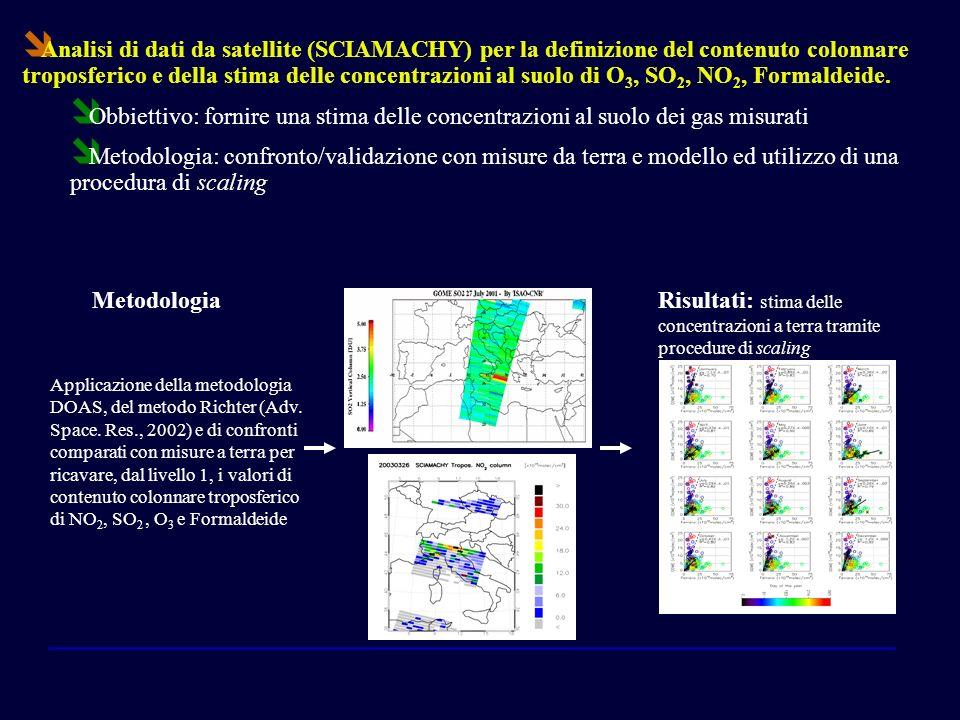 Analisi di dati da satellite (SCIAMACHY) per la definizione del contenuto colonnare troposferico e della stima delle concentrazioni al suolo di O3, SO2, NO2, Formaldeide.