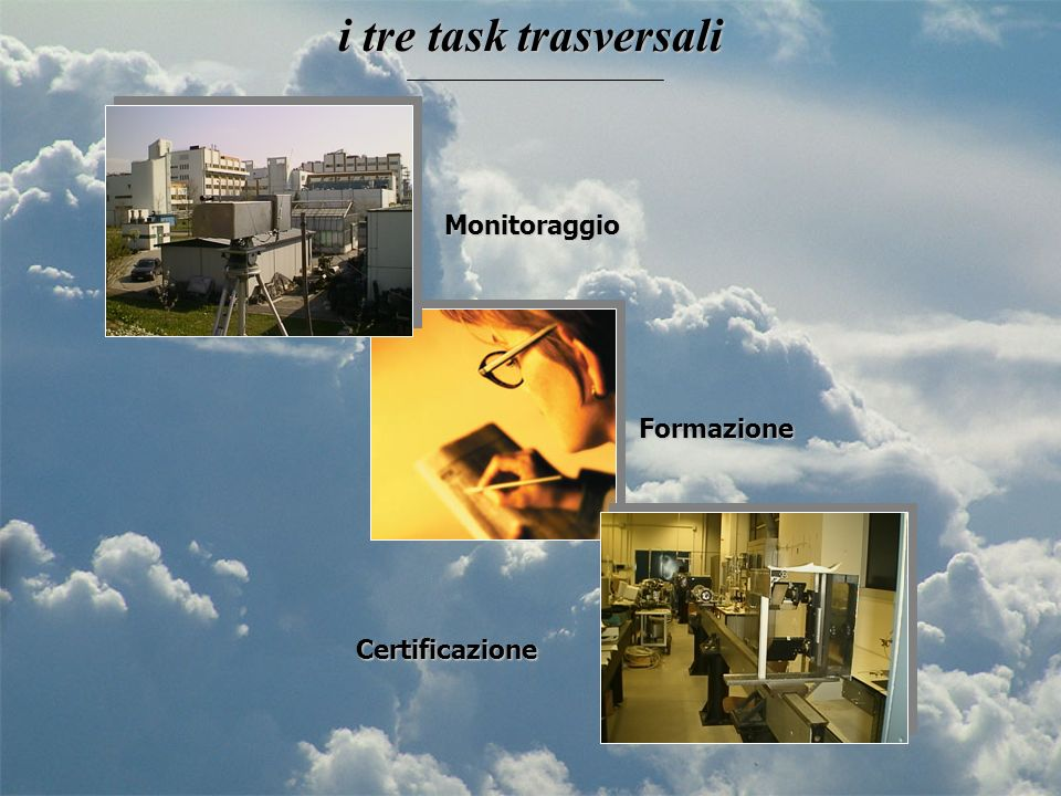 i tre task trasversali Monitoraggio Formazione Certificazione