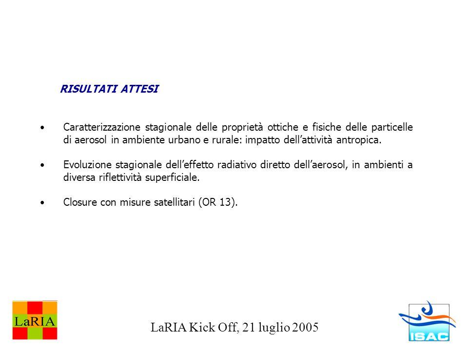 LaRIA Kick Off, 21 luglio 2005 RISULTATI ATTESI