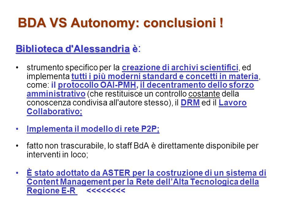 BDA VS Autonomy: conclusioni !