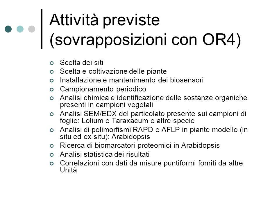 Attività previste (sovrapposizioni con OR4)