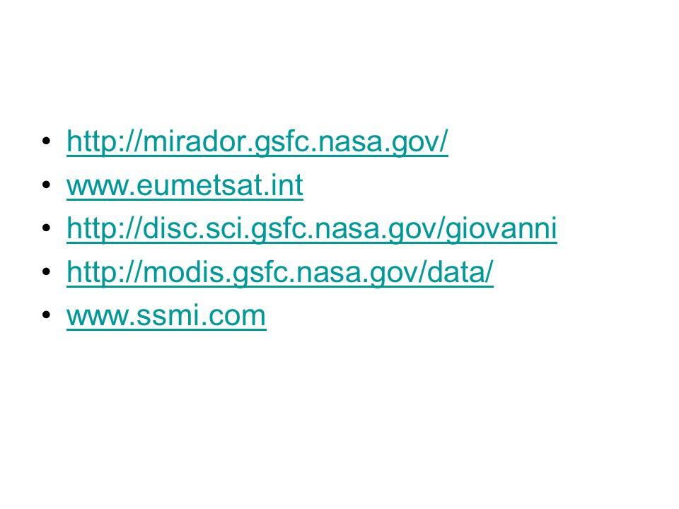 http://mirador.gsfc.nasa.gov/ www.eumetsat.int. http://disc.sci.gsfc.nasa.gov/giovanni. http://modis.gsfc.nasa.gov/data/