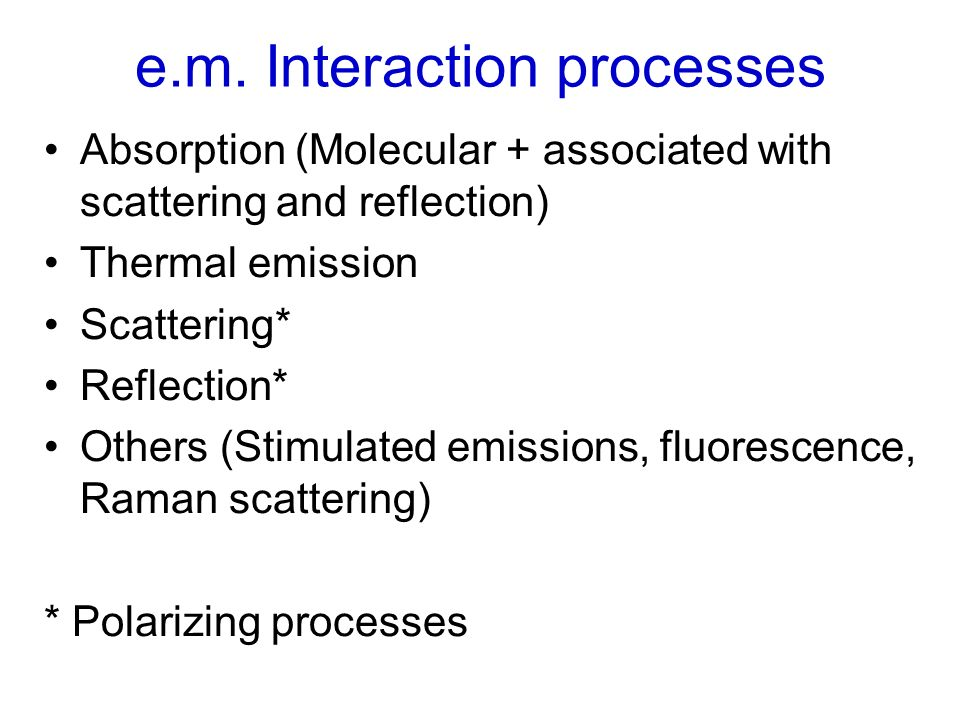e.m. Interaction processes