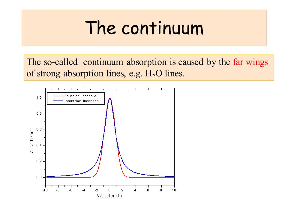 The continuum The so-called continuum absorption is caused by the far wings of strong absorption lines, e.g.