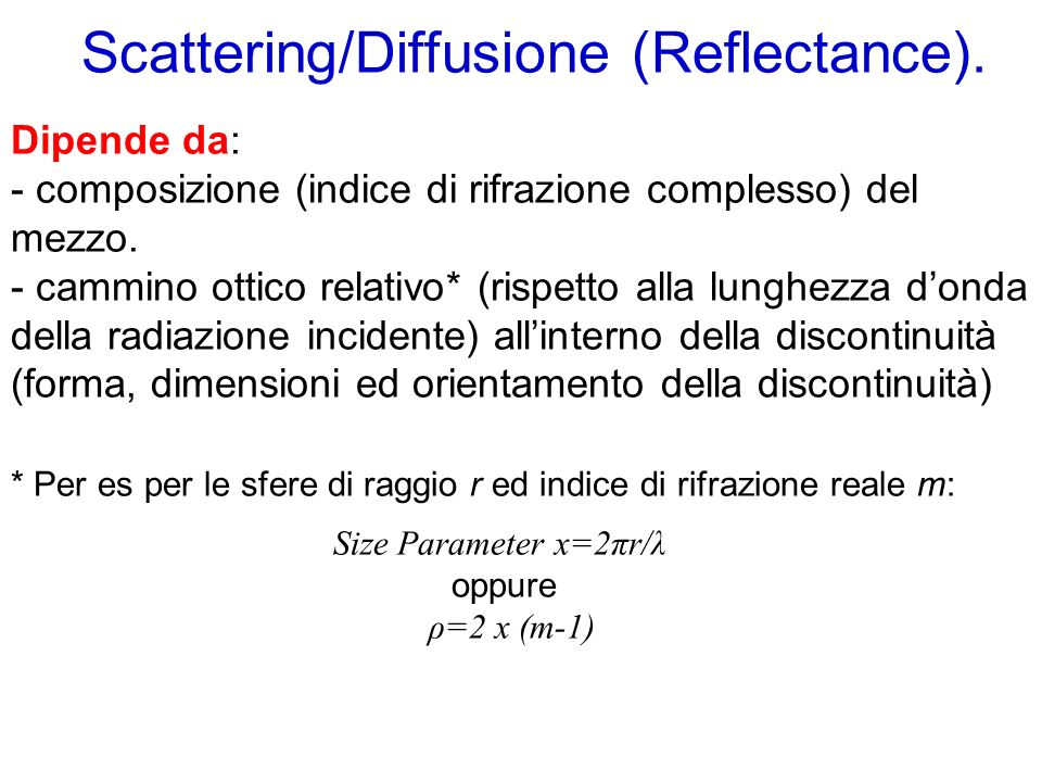 Scattering/Diffusione (Reflectance)