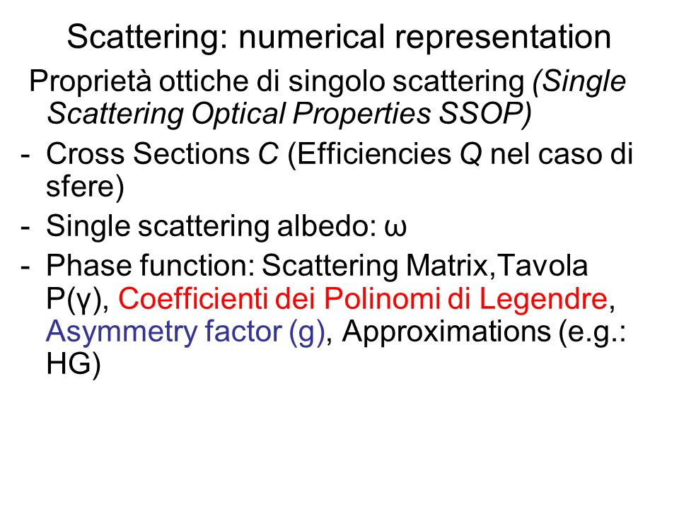 Scattering: numerical representation
