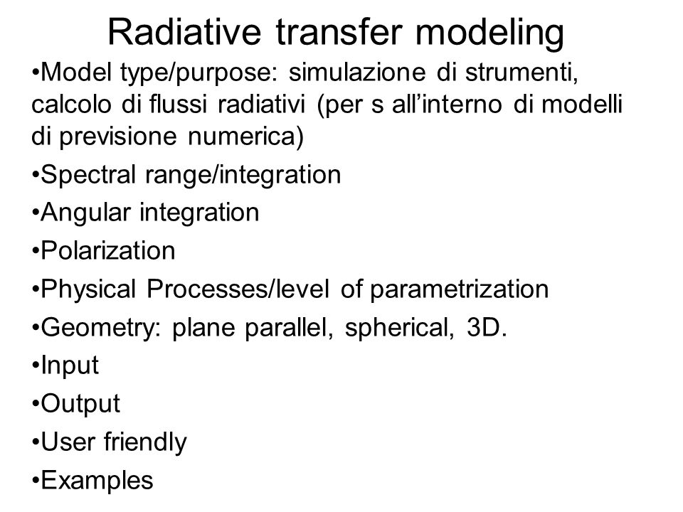 Radiative transfer modeling