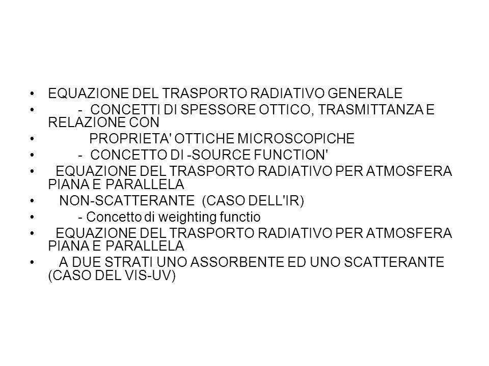 EQUAZIONE DEL TRASPORTO RADIATIVO GENERALE
