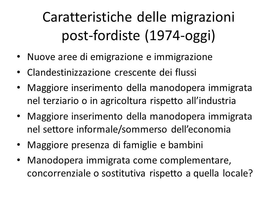 Caratteristiche delle migrazioni post-fordiste (1974-oggi)