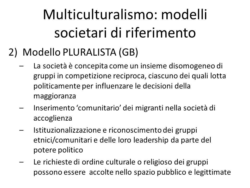 Multiculturalismo: modelli societari di riferimento