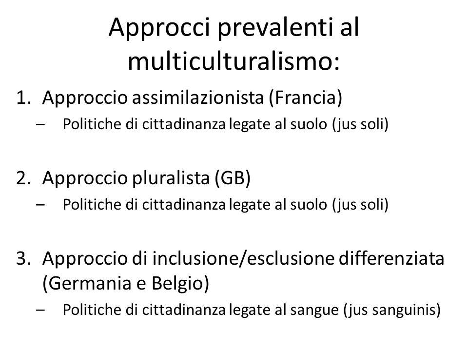 Approcci prevalenti al multiculturalismo: