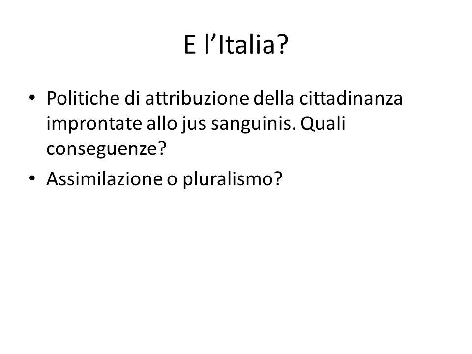 E l'Italia Politiche di attribuzione della cittadinanza improntate allo jus sanguinis. Quali conseguenze