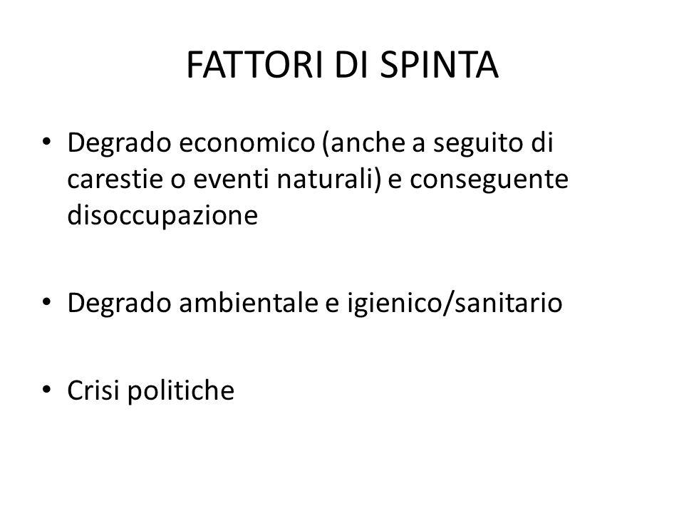 FATTORI DI SPINTA Degrado economico (anche a seguito di carestie o eventi naturali) e conseguente disoccupazione.
