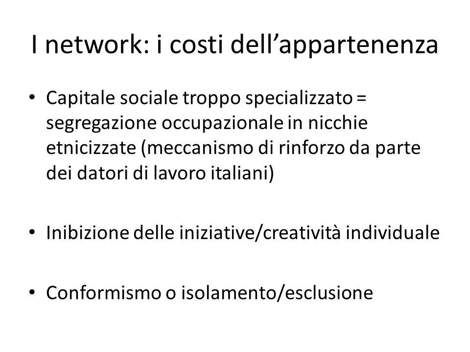 I network: i costi dell'appartenenza