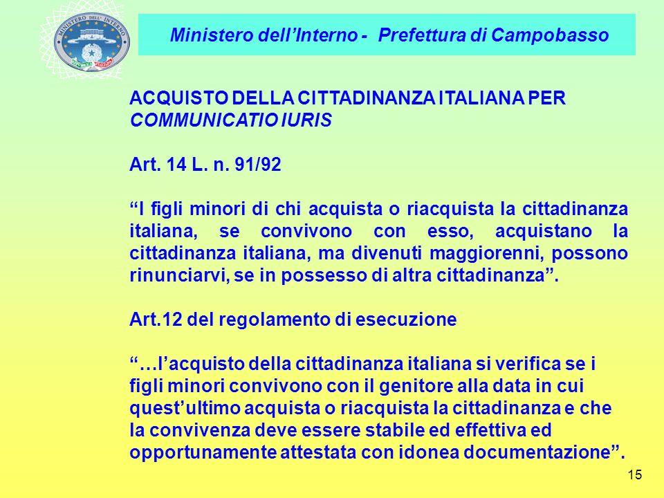 ACQUISTO DELLA CITTADINANZA ITALIANA PER COMMUNICATIO IURIS