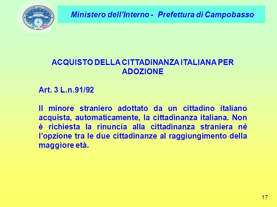 ACQUISTO DELLA CITTADINANZA ITALIANA PER ADOZIONE
