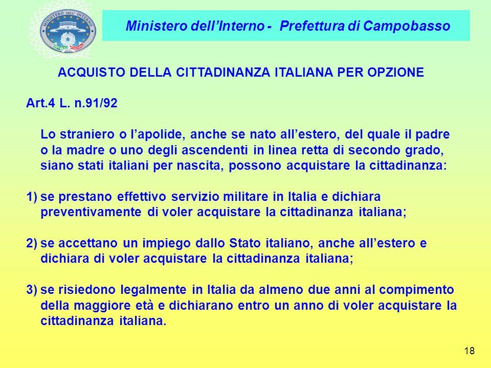 ACQUISTO DELLA CITTADINANZA ITALIANA PER OPZIONE