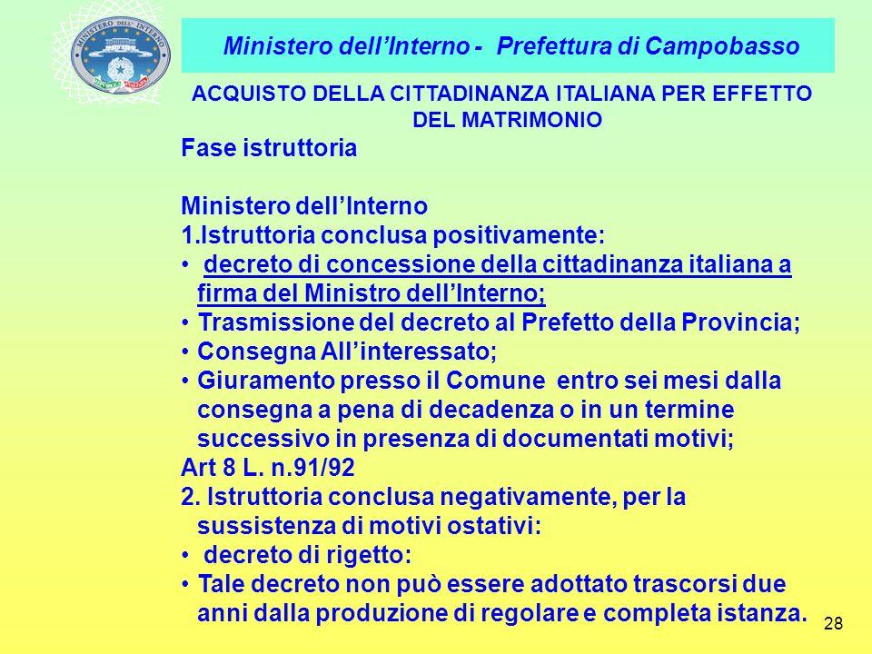 ACQUISTO DELLA CITTADINANZA ITALIANA PER EFFETTO DEL MATRIMONIO