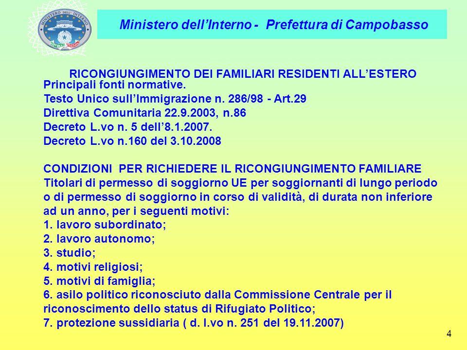 RICONGIUNGIMENTO DEI FAMILIARI RESIDENTI ALL'ESTERO