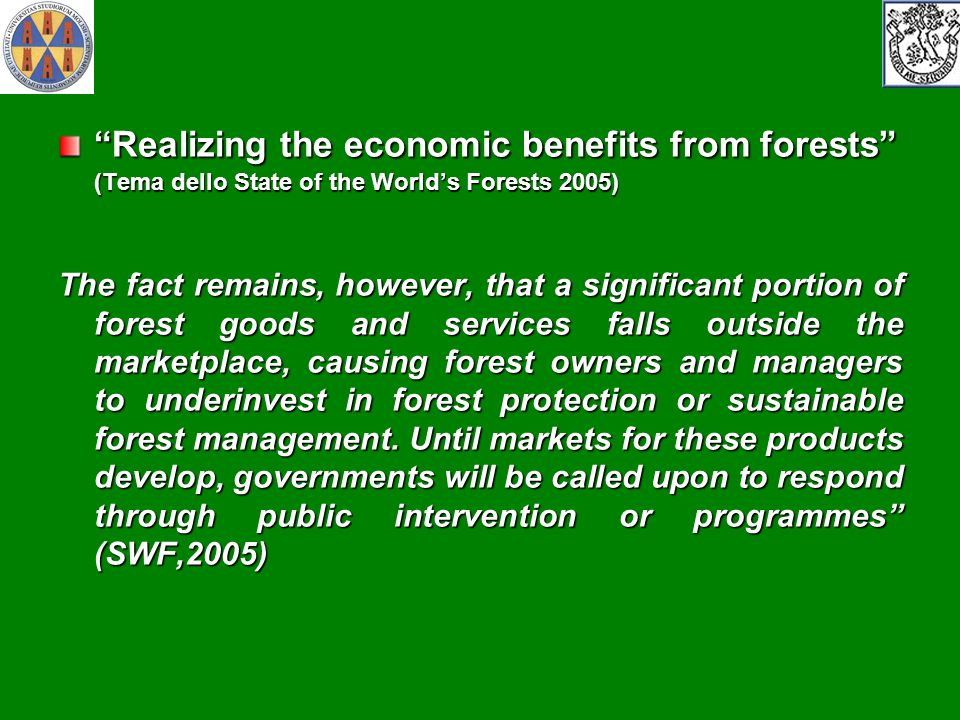 Realizing the economic benefits from forests (Tema dello State of the World's Forests 2005)