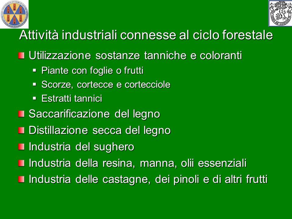 Attività industriali connesse al ciclo forestale