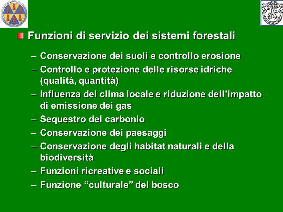 Funzioni di servizio dei sistemi forestali