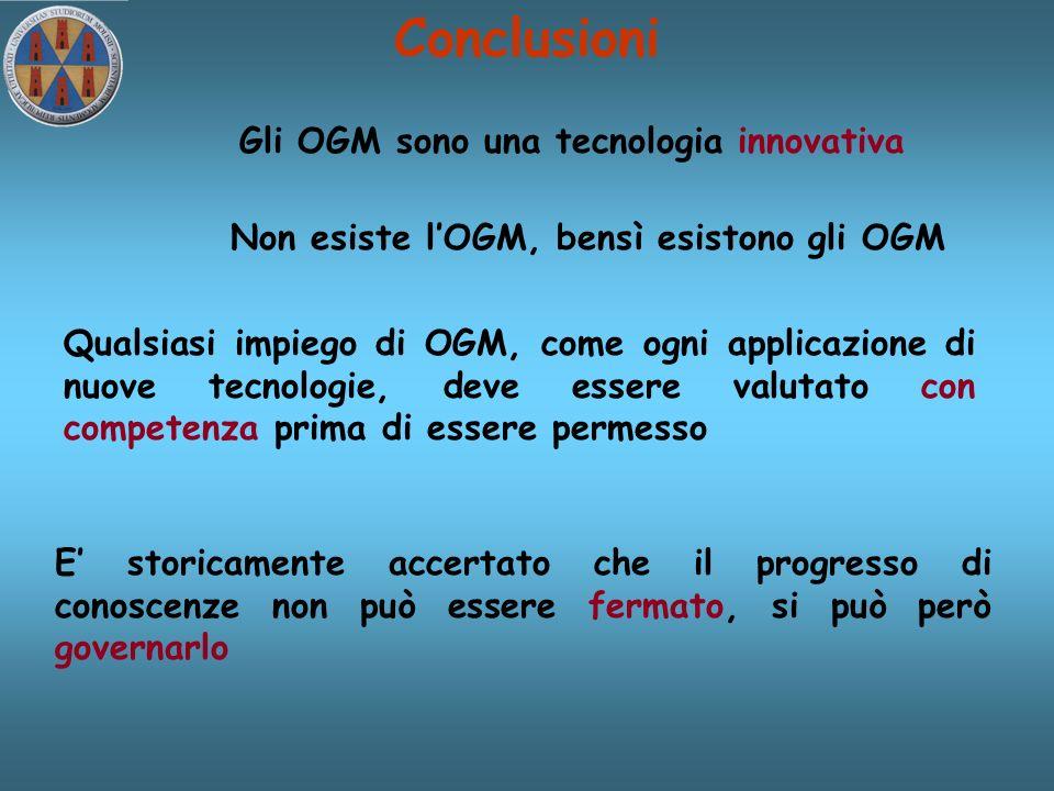 Conclusioni Gli OGM sono una tecnologia innovativa