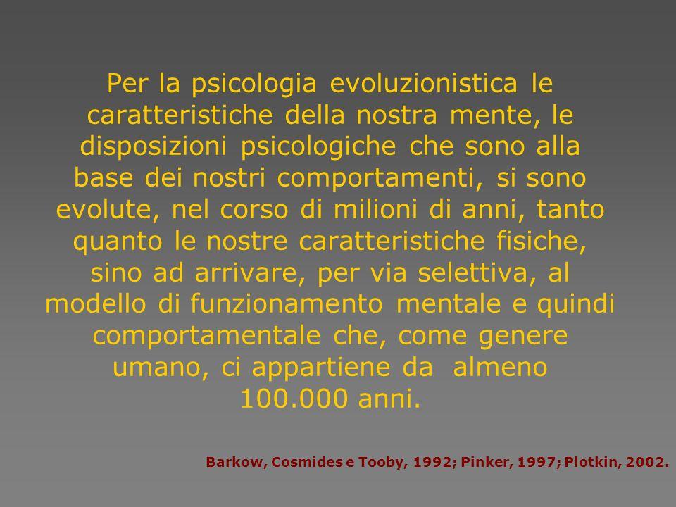 Per la psicologia evoluzionistica le caratteristiche della nostra mente, le disposizioni psicologiche che sono alla base dei nostri comportamenti, si sono evolute, nel corso di milioni di anni, tanto quanto le nostre caratteristiche fisiche, sino ad arrivare, per via selettiva, al modello di funzionamento mentale e quindi comportamentale che, come genere umano, ci appartiene da almeno 100.000 anni.