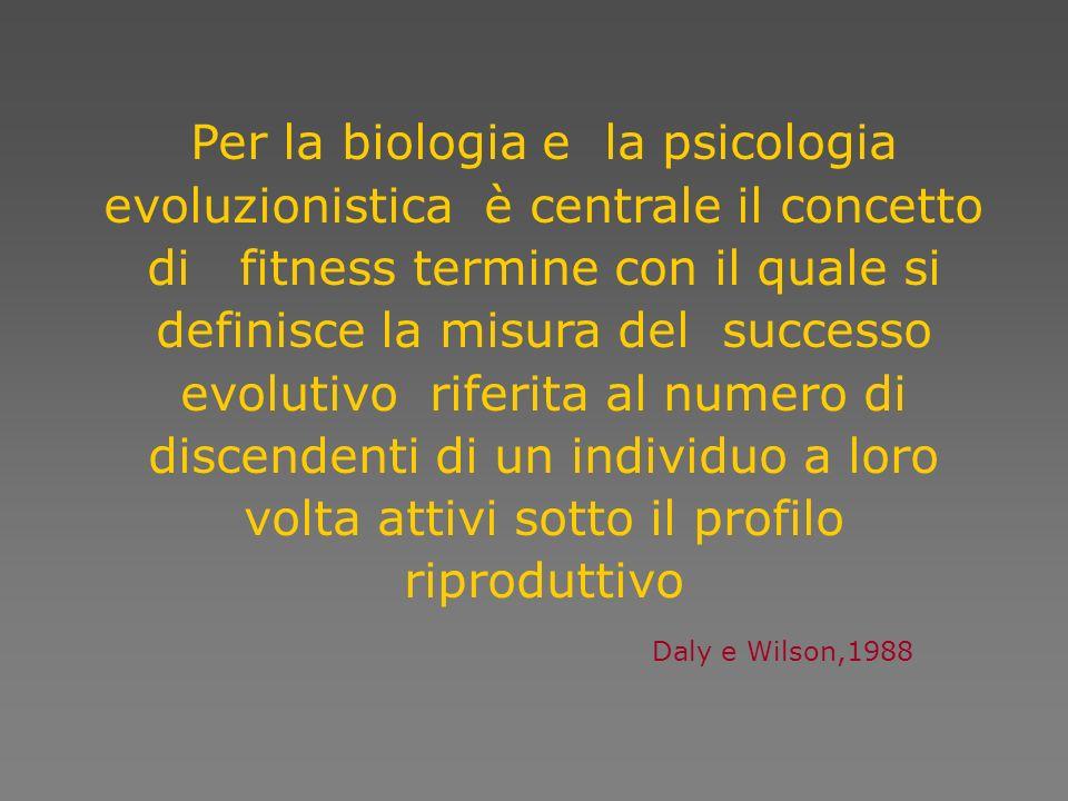 Per la biologia e la psicologia evoluzionistica è centrale il concetto di fitness termine con il quale si definisce la misura del successo evolutivo riferita al numero di discendenti di un individuo a loro volta attivi sotto il profilo riproduttivo Daly e Wilson,1988