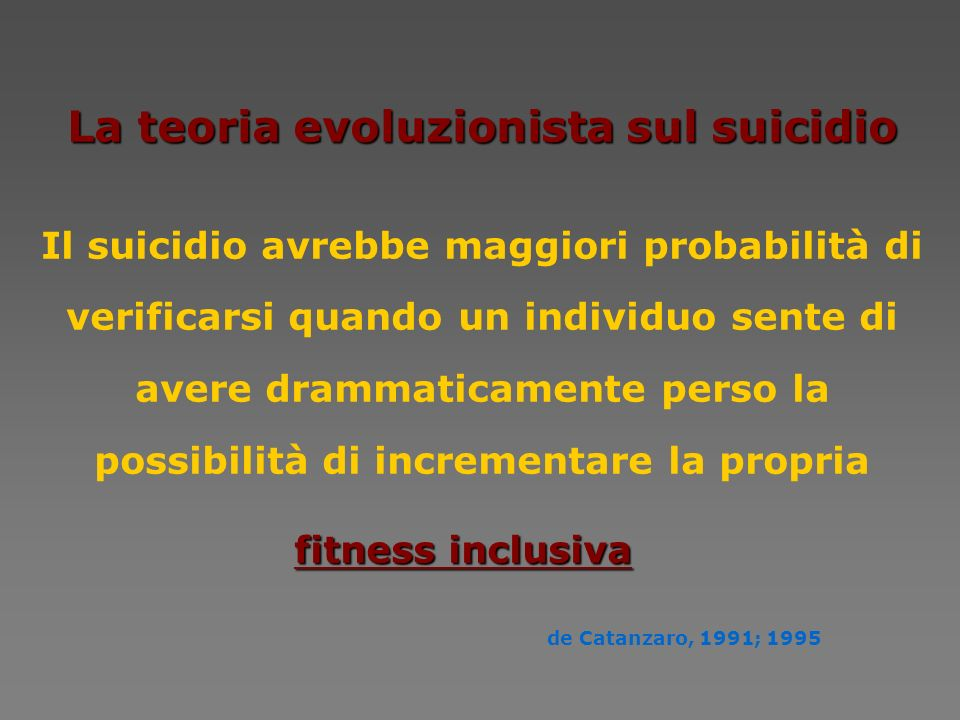 La teoria evoluzionista sul suicidio