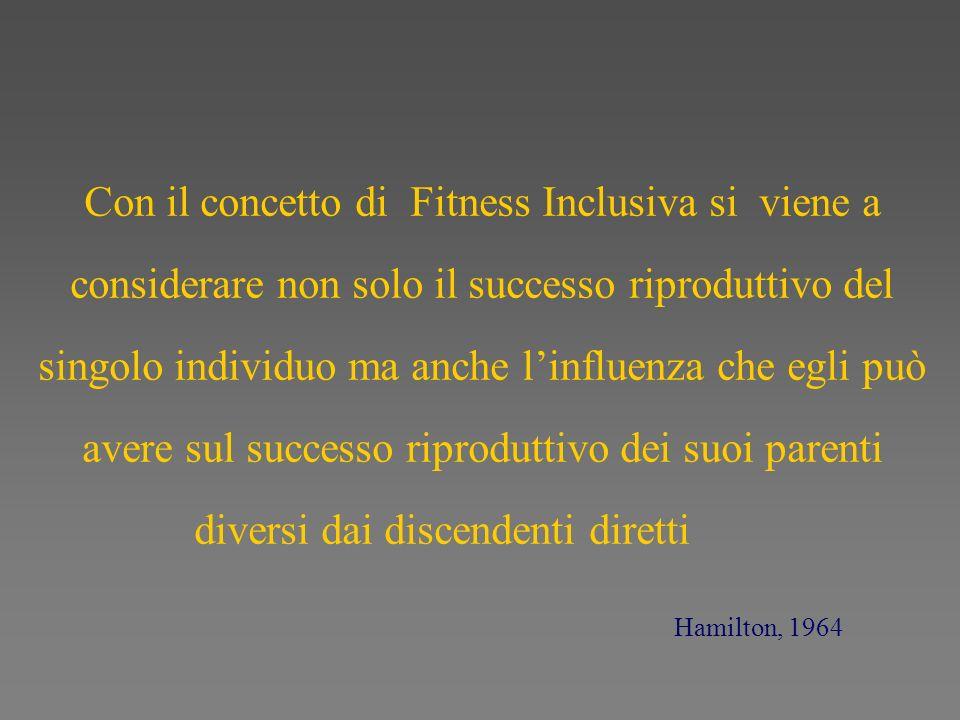 Con il concetto di Fitness Inclusiva si viene a considerare non solo il successo riproduttivo del singolo individuo ma anche l'influenza che egli può avere sul successo riproduttivo dei suoi parenti diversi dai discendenti diretti
