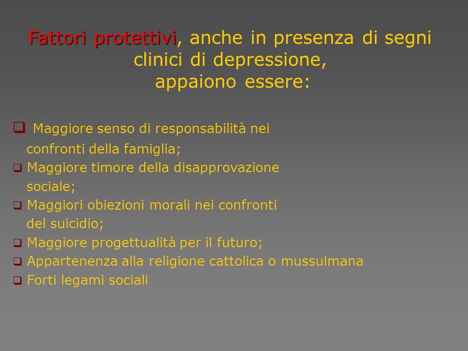 Fattori protettivi, anche in presenza di segni clinici di depressione,