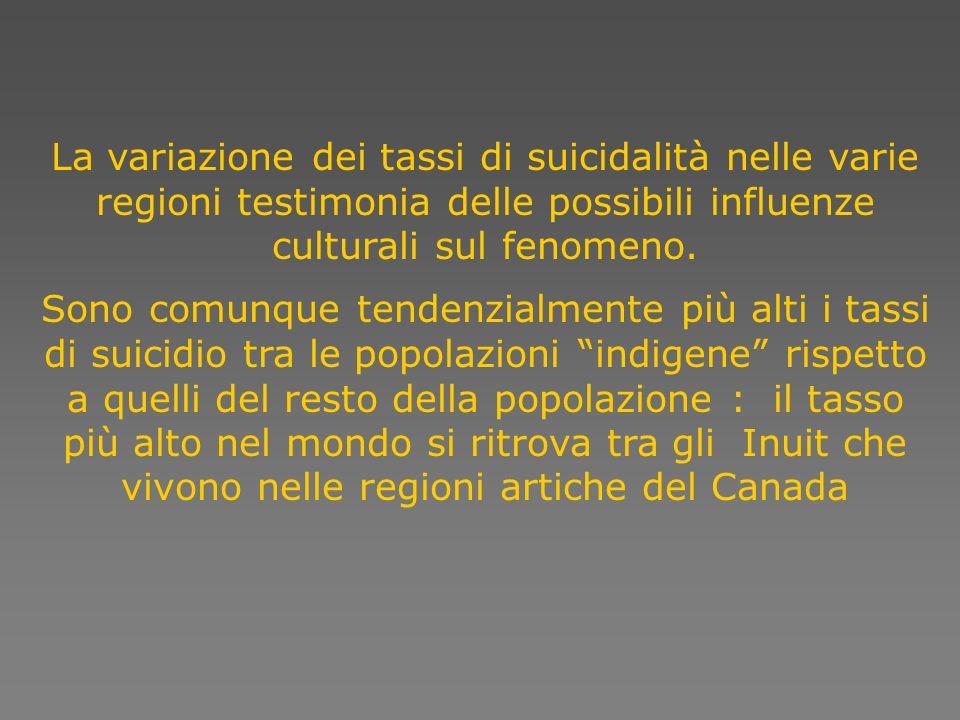 La variazione dei tassi di suicidalità nelle varie regioni testimonia delle possibili influenze culturali sul fenomeno.