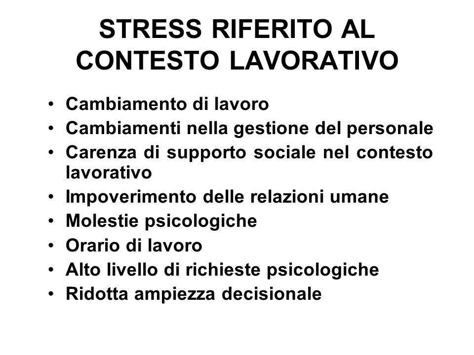STRESS RIFERITO AL CONTESTO LAVORATIVO