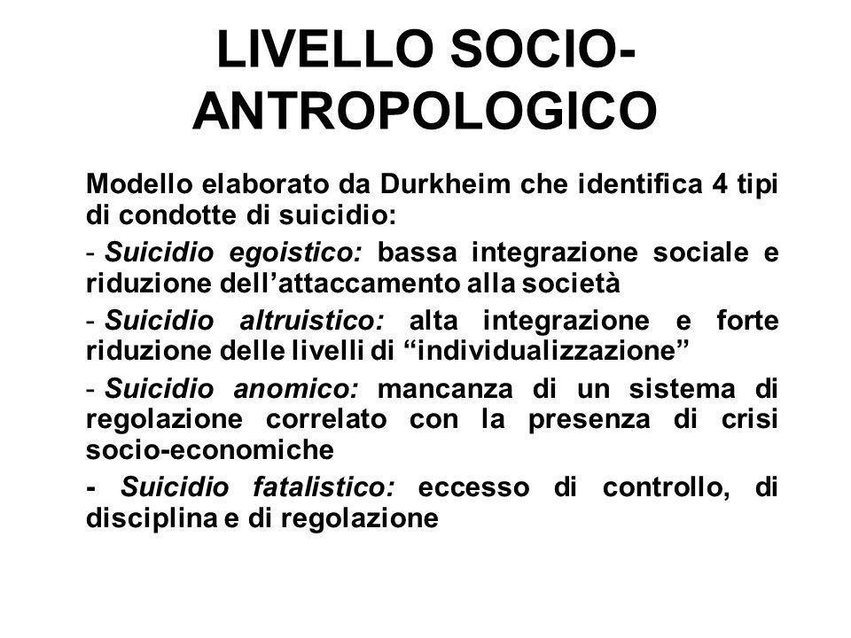 LIVELLO SOCIO-ANTROPOLOGICO