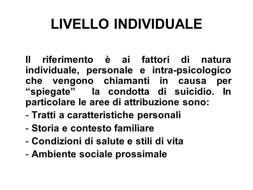 LIVELLO INDIVIDUALE