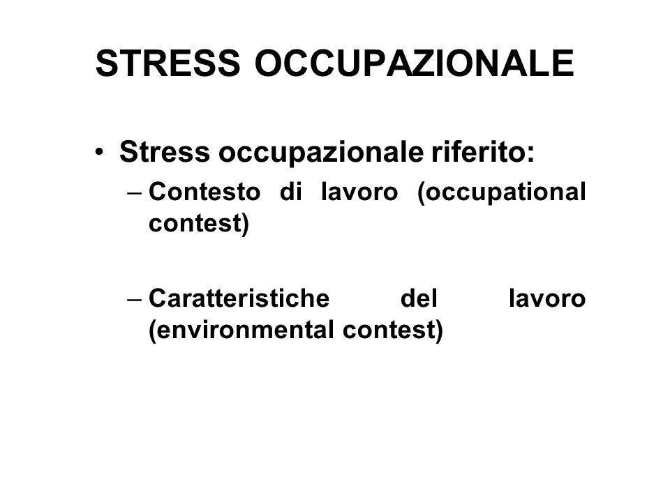 STRESS OCCUPAZIONALE Stress occupazionale riferito: